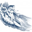 Young girl surfing — Stock Photo
