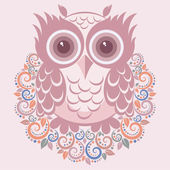 Owl pink — Stock Vector