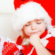 The little girl thinking of New Year's desire — Stock Photo