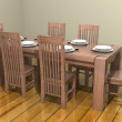 3D dining room table — Stock Photo