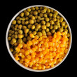 Stock Photo: Corn and peas on black