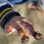 Ребенок с ракушками — Stock Photo