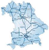 Bayern mit autobahnen blau — Vecteur