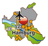 Hamburg mit Autobahnen bunt — Stock Vector