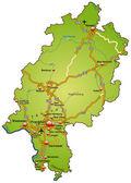 Hessen mit Autobahnen bunt — Stock Vector