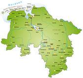 Niedersachsen in grün — ストックベクタ