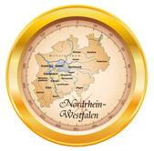 Nordrhein-Westfalen als Kompass in gold — Stock Vector