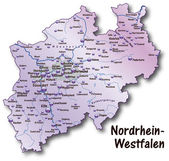 Nordrhein-Westfalen in flieder — Stock Vector