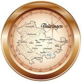 Thüringen als Kompass in kupfer — Stock Vector
