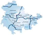 Thüringen mit Autobahnen blau — Stockvektor