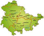 Thüringen mit Autobahnen bunt — Stockvektor