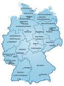 Deutschland mit Bundesländern blau — Stockvektor