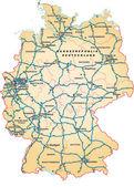 Deutschland mit Autobahnen in orange — Stockvektor