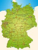 Deutschland mit Autobahnen in grün — Stockvektor