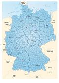 Kreiskarte von Deutschland blau — Stockvektor
