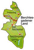 Berchtesgadener Land Inselkarte bunt — Stock Vector