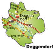 Deggendorf Inselkarte bunt — Stock Vector