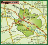 Deggendorf Umgebungskarte bunt — Stock Vector