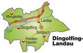 Dingolfing-Landau Inselkarte bunt — Stock Vector