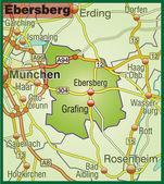 Ebersberg Umgebungskarte bunt — Stock Vector