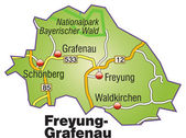 Freyung-Grafenau Inselkarte bunt — Stock Vector
