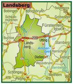 Landsberg Umgebungskarte bunt — Stock Vector