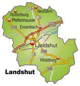Landshut Inselkarte bunt — Stock Vector