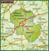 Landshut Umgebungskarte bunt — Stock Vector