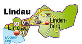Lindau Inselkarte bunt — Stock Vector