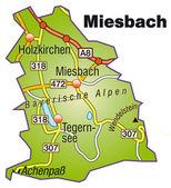 Miesbach Inselkarte bunt — Stock Vector