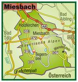Miesbach Umgebungskarte bunt — Stock Vector