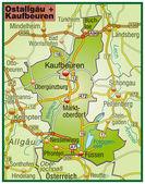 Ostallgäu+Kaufbeuren Umgebungskarte bunt — Stock Vector