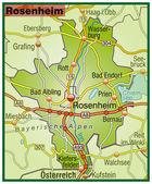 Rosenheim Umgebungskarte bunt — Stock Vector