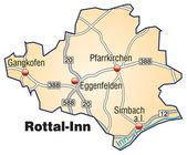 Rottal-inn inselkarte oranje — Stockvector