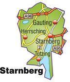 Starnberg Inselkarte bunt — Stock Vector