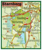 Starnberg Umgebungskarte bunt — Stock Vector
