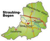 Straubing-Bogen Inselkarte bunt — Stock Vector