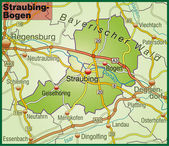 Straubing-Bogen Umgebungskarte bunt — Stock Vector