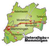 Unterallgäu+Memmingen Inselkarte bunt — Stock Vector