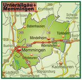 Unterallgäu+Memmingen Umgebungskarte bunt — Stock Vector