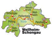 Weilheim-Schongau Inselkarte bunt — Stock Vector