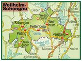 Weilheim-Schongau Umgebungskarte bunt — Stock Vector