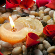 Candle and Petals — Stock Photo