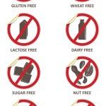 allerjen ücretsiz çıkartmaları — Stok Vektör