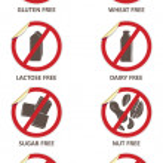 Allergen Free Stickers — Stock Vector