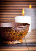 Exotic Bowl and Candles — Stock Photo