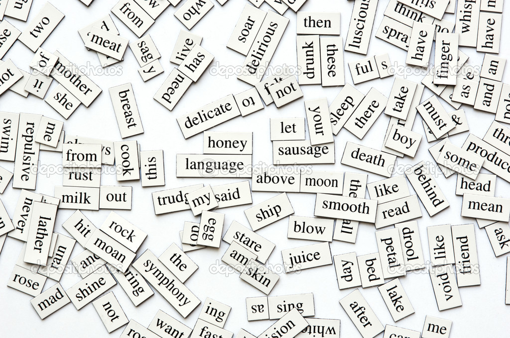 Random collection of  different words and word-forms on magnetic tiles — Stock Photo #7832380