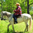 Foto de Stock  : Horse Ride On Spring Day