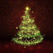 Glowing Christmas Tree on Red Backround — Stock Photo