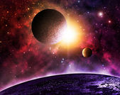 Beautiful planet and moons — Stock Photo